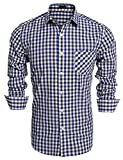 Burlady Herren Hemd Kariert Regular Fit Trachtenhemd Bügelleicht Freizeithemd Hemd Männer (S, Blue)