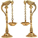 SHIVIKA Brass Crafted Decorative Parrot Bird Holding Hanging Oil Diya Lamp (Set Of 2)