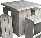 Consul Garden Rustikales Holz Barset Toulouse Bar Garnitur 100x100 cm Bartisch 2 x Barbank