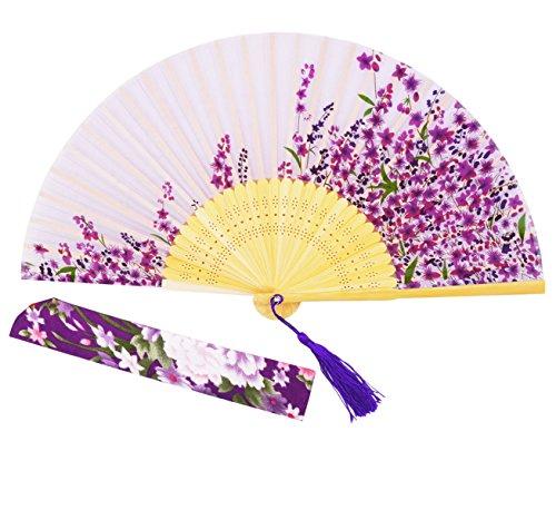 Sthuahe de 21 cm - Abanico de seda para mujer, diseño de...
