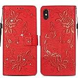 """Handy hülle Tasche Leder Flip Case Brieftasche Etui Schutzhülle für Apple iPhone X XS iPhone XR iPhone XS MAX hülle Blumen Schmetterling,8 Farben (iPhone XS Max(5,8""""), Rot)"""