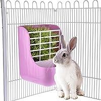 Pequeños suministros para animales de plástico para mascotas,Pet 2 en 1 cuencos de alimentación, marco de hierba para conejos, chincHillas de Gran Guinea, cerdos Contenedores de comida de Beatie