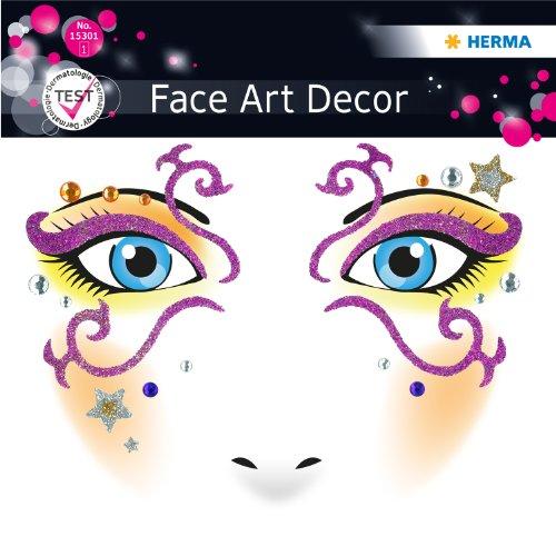 Sticker, Kostüm Aufkleber für das Gesicht, Motiv Mystery, dermatolog. getestet (Media-make-up Halloween)