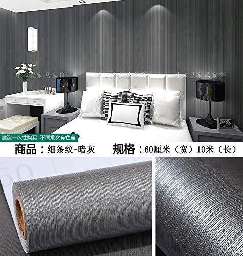 Hintergrund Selbstklebende Schlafzimmer Dekorative Schlichte Farbe Wasserdichtschlafzimmer Moderne Einfache 10 Meter Pvc Schlafsaal Warme Tapete Tapete Nadelstreifen - Dunkelgrau - Dunkelgrau Nadelstreifen