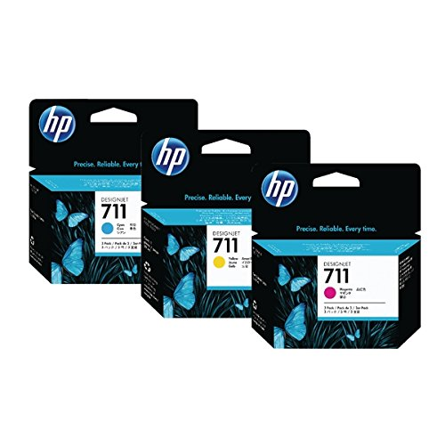 Cartouche d'encre HP Designjet 711Cyan Magenta Jaune 80ml [Lot de 1]