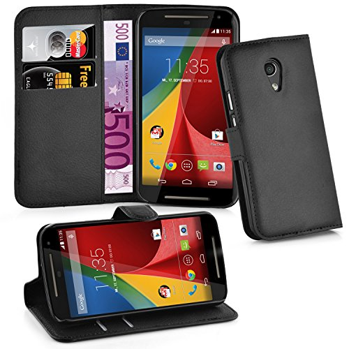 Cadorabo Hülle für Motorola Moto G2 Hülle in Phantom schwarz Handyhülle mit Kartenfach & Standfunktion Case Cover Schutzhülle Etui Tasche Book Klapp Style Phantom-Schwarz