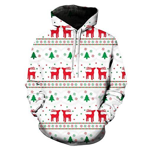SEWORLD Weihnachten Christmas Herren Männer Herbst Winter Weihnachten Drucken Langarm Mit Kapuze Sweatshirt Top Bluse(X1-a-weiß,EU-52/CN-3XL)