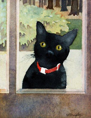 Susan Avis Murphy Baxter Bei der Tür, Giclée-Print von Watercolor Pet Hochformat, Zeigt Ein Schwarz Katze namens Baxter suchen, in durch die Tür, 17,8x 22,9cm -