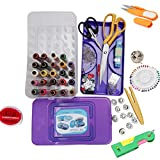 #10: Kurtzy Sewing Kit Includes Needle Threader - Trimmer - Threads - Needles - Bobbin Case - Bobbins - 9
