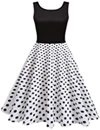 032dab4cda HOTOUCH Femme Robe Vintage Polka à Pois/Floral Col Rond Dos V Sans Manches  Robe