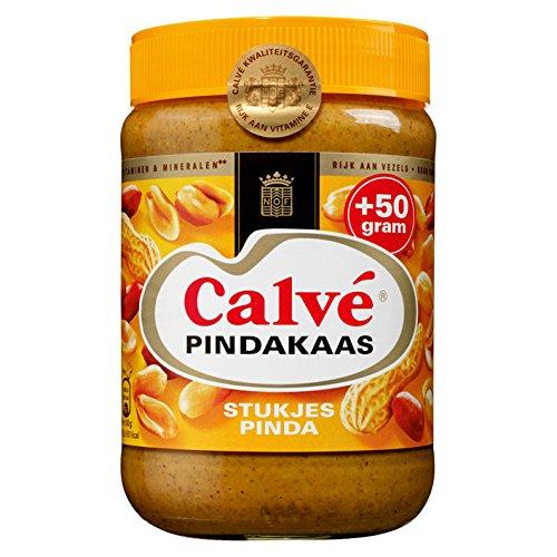 (3 X Calvé Pindakaas met stukjes noot - Erdnußbutter mit stückchen Nuß - 650g)