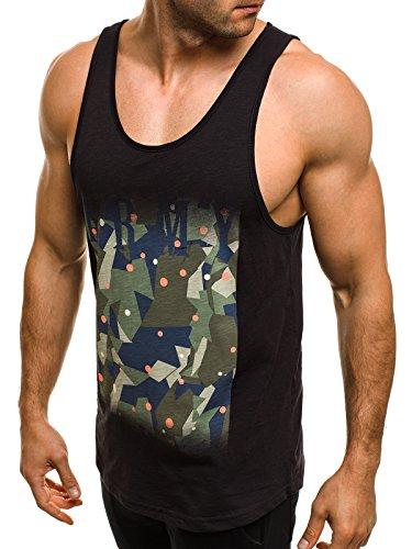 OZONEE Herren Tanktop Tank Top Tankshirt T-Shirt mit Print Unterhemden Ärmellos Weste Muskelshirt Fitness MADMEXT 1323 Schwarz_BREEZY-171091