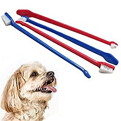 AST Works 2pcs Pets Toothbrush Dual End Dog Cat Dental Pet Grooming Tooth Toothbrush 22cm