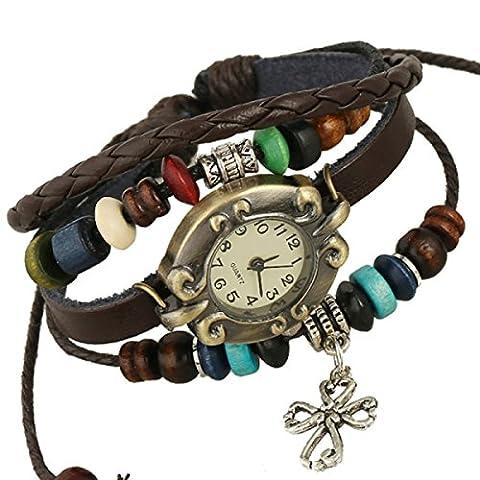 LZHMCircle Leder-Armband-Armband Für Unisex Personalisierte Multi Strands Justierbare Armbänder Stammes- Geflochtenen Seil Wulstige Kreuz-Anhänger Uhr