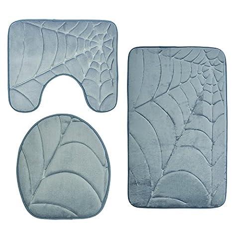 Diossad Tapis de Bain 3 Pièce Gris Poil Très Doux Flanelle en Microfibre Absorbant d'Eau Antidérapant Tapis de Bain