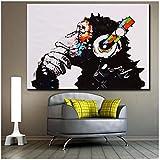 xwwnzdq Vintage Animaux Couleur Musique Singe Wall Art Affiche Hippie Mur Photo Toile Peinture pour Bureau Décor À La Maison No Frame