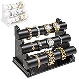 TecTake 3er Schmuckständer Schmuckhalter Armbandständer Kunstleder - diverse Farben - (Schwarz   Nr. 401533)