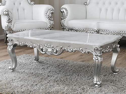 Simone Guarracino Couchtisch Regina Moderner Barock Stil Wohnzimmertisch Antik Blattsilber Marmorplatte Carrara weiß