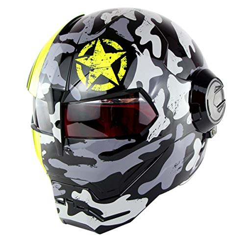 VOVSO Motorrad Helme,Motocrosshelme Full Face Touring Motorrad Harley Vintage Helm Männer und Frauen Rennhelm Helm Klapphelme Iron Man Helm - Persönlichkeit -...