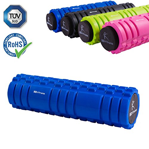 HD Fitness 2 in 1 Faszienrolle blau Yogarolle mit Massagerolle Hohlkern inklusiv Eva Schaummantel 3D Oberfläche Bester Massage Yoga 45cm;TÜV und RoHS Geprüft Blue