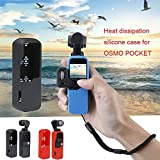 XuBa Multi Functional Silicone Cover Heat Dissipation Case Strap Combo for DJI Osmo Pocket 3-axis Stabilized Mini Camera Blue Black Rope