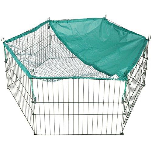 Freilaufgehege für Kleintiere Hase Meerschweinchen mit Schutznetz, 6-eckig, 120x55 cm - Freigehege Kleintier Gehege Hase Kaninchen Ausbruchsperre Auslauf