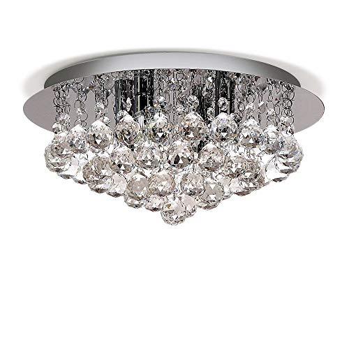 CZZ Moderne Runde Transparent Jewel Kristallglas Droplet Decke 4 Lichter Pendelleuchte Kronleuchter Für Wohnzimmer Esszimmer, SizeD35cm H20cm