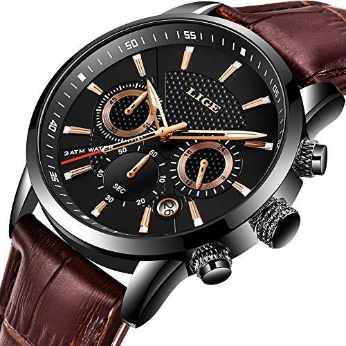 Relojes Hombre LIGE Moda Reloj de Cuarzo analógico Impermeable Clásico Correa de Cuero Deportivo Negro Fecha/Calendario Reloj Pulsera Hombre