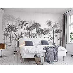 Papier Peint 3D Chambre Salon Black And White Sketch Tropical Rainforest Coconut Tree Nordic Background Wall Moderne Intissé Décoration Murale
