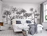 Papier Peint 3D Chambre Salon Black And White Sketch Tropical Rainforest Coconut Tree Nordic Background Wall Moderne Intissé Décoration Murale