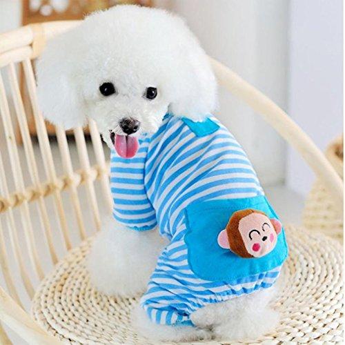 Haustier Kleidung, Hmeng Kleine Haustier Hund Sweatshirt Pullover Welpen Overalls Streifen Pyjamas Kapuzenpullis Mantel Bekleidung Kleidung (S, Blau) - Mantel Pyjamas