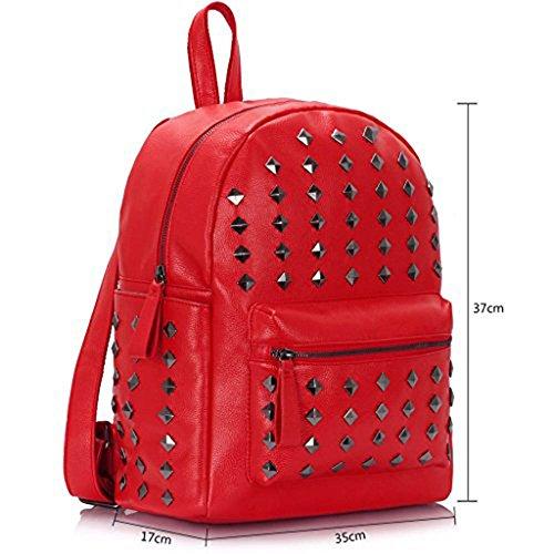 TrendStar Koolertron Rucksack SchultertascheKunstleder Schultertasche Damen Herren Camping Rucksack Rucksäcke Tasche für Laptop (A - Blau) Rot