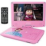 9.5'' Tragbarer DVD-Player, 5 Stunden Akku, schwenkbaren Bildschirm, unterstützt SD-Karte und USB, mit 1.6M Auto-Ladegerät und Stromadapter (Rosa)