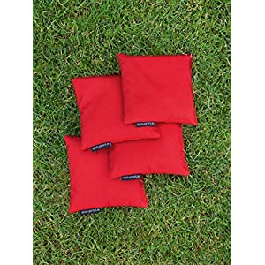 4 Cornhole Säckchen rot (Granulat oder Mais), 15 x 15 cm, 400g (oder 250g) – Top Qualität made in Germany, handgemachte…