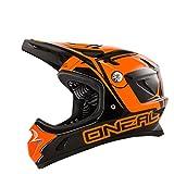 O'Neal Spark Fidlock DH Helm Steel Schwarz Orange FR MTB Fullface, 0489F-70, Größe Medium (57-58 cm)