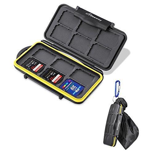 Speicherkartenetui, Beeway® Speicherkarten-Organizer Aufbewahrungsbox wasserdicht mit 12 Plätze für SD, SDHC, SDXC Karten mit Kordelzugbeutel und Karabinerhaken -