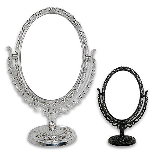 Kosmetikspiegel Vergrößerungsspiegel 'Romantik' oval in silber oder schwarz (silber oval)