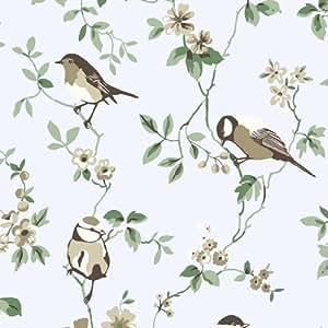 borastapeter falsterbo 1435 papier peint motif oiseaux et branches fleuries bleu. Black Bedroom Furniture Sets. Home Design Ideas