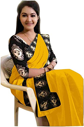 Rajeshwar Fashion Women's Cotton Saree With Blouse Piece (Mataji Black Musturd_Gold)