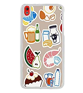Food Graffiti Wallpaper 2D Hard Polycarbonate Designer Back Case Cover for HTC Desire 816 :: HTC Desire 816 Dual Sim :: HTC Desire 816G Dual Sim