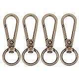 Broadroot 4pcs vintage metal Luggage bag Dog fibbia moschettone chiusura borsa DIY Key Chain, Bronze