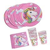 Sharplace Set Di 40pcs Bambini Compleanno Cartoon Unicorno Pony Tovaglioli Di Carta Piatti Bicchieri