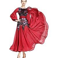 aee8baa6e3 ZTXY Vestidos de Baile para niñas Vestidos de Baile Latino para Mujeres  Rojo Terciopelo Floral Salsa