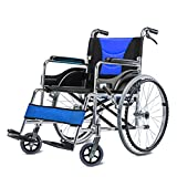 QFFL wheelchair Aluminum folding manual wheelchair Handicapped elderly disabled hand brake Portable hand-push scooters 3 colors available Crutches Walker ( Color : C )