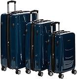 AmazonBasics Valise Rigide à roulettes pivotantes, Lot de 3valises (55 cm, 68 cm, 78 cm), Bleu Marine