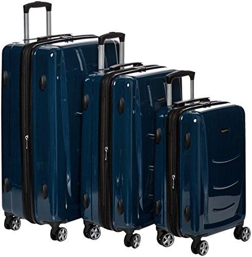 AmazonBasics Hartschalen-Trolley - 3-teiliges Set (55 cm, 68 cm, 78 cm), Navy Blau