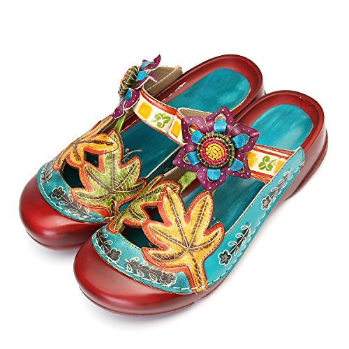 Gracosy sandali con plateau donna in pelle morbida suola sandali antiscivolo fiori colorati pantofole cave scarpe da passeggio per il tempo libero all'aperto rosso blu