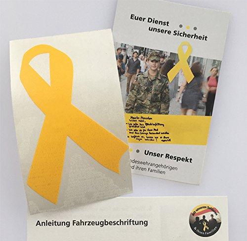 Gelbe Schleife Aufkleber (Solidarität Soldaten - Größe N: 5 x 7,5 cm) -