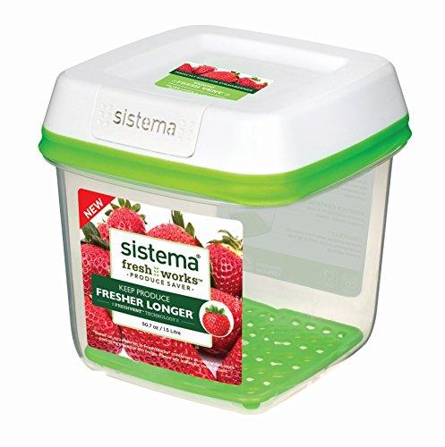 Sistema freshworks 1,5litros cuadrado caja de almacenaje, 14,2x 14,2x 14,8cm