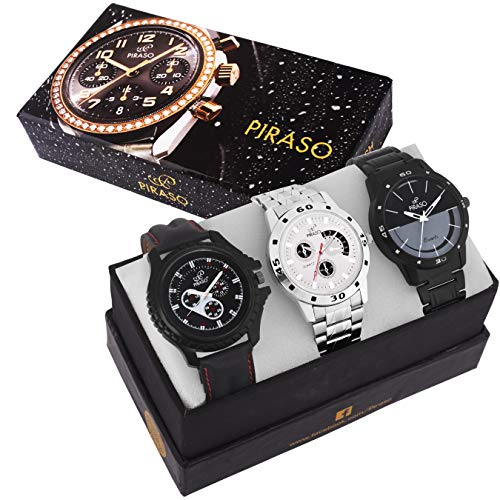 PIRASO Analogue Black Dial Stylish Watch for Men - Combo Set of 3